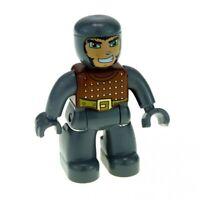 1x Lego Duplo Figur Ritter neu-dunkel grau braun Gürtel Augen grün 47394pb053