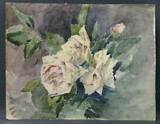 Aquarelle début 20ème fleurs Roses J Drouot