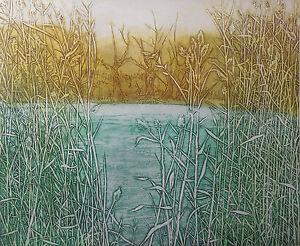 "RUTH LEAF, ""Inlet"" ETCHING, Ltd Ed, LISTED Fine Artist S/N, GREAT FRAME & MAT"