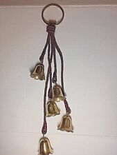 """5 Solid Brass Bells Wind Chimes Maroon Twisted Rope w/ 3.5"""" Brass Ring"""