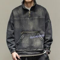 Retro Fashion Men's Washed Denim Loose Pullover Coat Casual Jean Jackets Outwear
