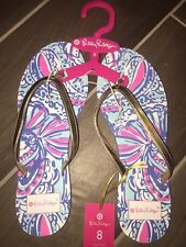 Lilly Pulitzer for Target Women's Size 8 Flip Flops Sandals in My Fans NEW Blue