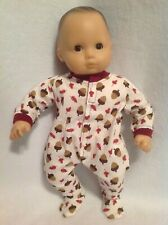 """Bitty Baby fall leaves acorns pjs sleeper pajamas 15"""" girl/boy doll clothes fit"""