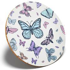 1 x Butterflies Vintage Bug - Round Coaster Kitchen Student Kids Gift #14721