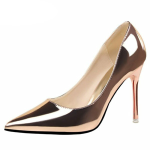 Women Heels Pumps Shoes Pointed Toe Bling Gold Leather Sexy Wedding Party
