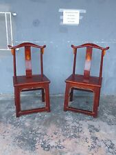 Pair Of 19Th Century Red Lacquer Ming Chairs W Painted Grape Design