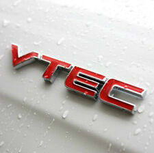 3D VTEC Logo Red Metal Chrome Emblem Car Letter Sticker Auto Fender Adhesive