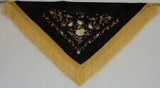 New Spanish Flamenco Shawl - Black with Gold and White Pattern with Gold Fringe