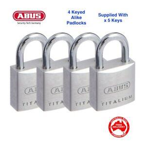 ABUS Titalium Padlocks-x 4 KEYED ALIKE Abus Padlock Free Postage-64TI20QUADSC