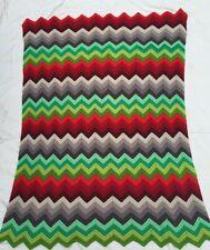 "Handmade Afghan Throw Wool Chevron Zig Zag Mulitcolor Blanket 36""x52"""