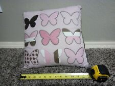 Butterfly Pink And Brown Accent Decorative Pillow Modern Home Decor. EUC.