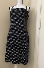 Tahari Arthur Levine Dress Black White Polka Dot Sleeveless Sz 12