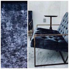 NEW Designer Antique Inspired Velvet Fabric - Navy Blue - Upholstery