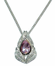 Stamped 925 Sterling Silver & Pink Gem Set Fancy Pendant & Chain