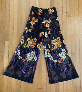 Vintage Handmade Super Wide Leg Palazzo Pants Black Floral M