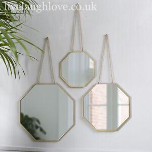 Set Of 3 Gold Geometrical Hanging Mirrors
