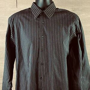 Calvin Klein Mens Gray Striped Long Sleeve Dress Shirt Size 16 32/33