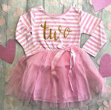 2ND BIRTHDAY PRINCESS TUTU, Pink Striped Long Sleeve Tutu Party Dress, Gold Two