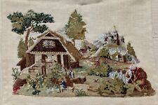Mid 19Th C Needlepoint European Scene Italy Wool & Silk Tent Stitching Rebacked