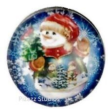Winter Snowman 18mm Button Snap Charm Chunk Interchangeable Jewelry 11-4