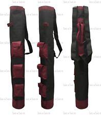 "1 x Maroon & Black 3 Pockets Pencil Golf Club Ball Bags 34"" Height Light Weight"