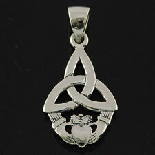 Pure Sterling Silver 925 Celtic Knot Trinity and Claddagh Pendant Necklace