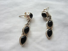 Earrings Pair Black Onyx Sterling Silver Setting 30mm Long Post Marked 925 New