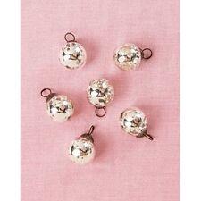 Glass Ball Ornaments Mini Vintage Mercury Style Antique Silver Metallic Set Of 6