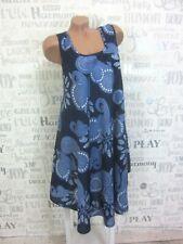 NEU Sommerkleid Hängerchen Strand Kleid Tunika IBIZA BOHO 42 44 46 Blau 705