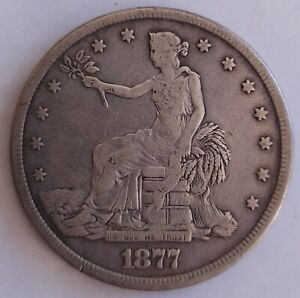 1877 S United States Trade Dollar - Fine+ - Circulated silver coin San Francisco