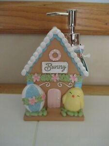 NWT EASTER Bunny Rabbit House Bath Soap Lotion Pump Dispenser Chick, Egg