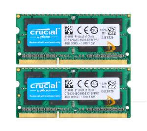 8GB Crucial 2x 4GB 2RX8 PC3-12800S DDR3 1600Mhz CL11 SODIMM Laptop Memory RAM &6