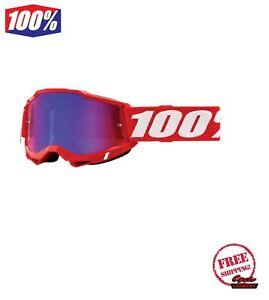 100% ACCURI GEN 2 MEN'S DIRT MX OFFROAD GOGGLE RD WITH RED/BLUE MIRROR