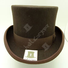VINTAGE Wool Felt Gentlemen Topper Top Hat Men Tuxedo Victorian | 59cm | Brown