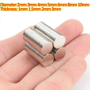 Neodymium Magnets Rare Earth Disk Dia 2/3/4/5/6/8/10mm N35 Strong Crafts Magnet