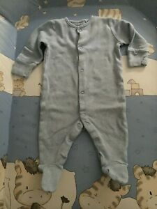 Baby boys NEXT sleepsuit all-in-one romper babygrow size 3-6m plain blue