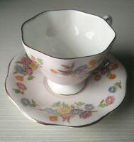 1850 E B Foley Pink Floral Roses Vintage Bone China Tea Cup & Saucer, England