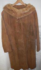 1965-1976 Brown SUEDE Leather Coat MINK FUR COLLAR ,Mod, Hippie, Disco, True Vtg