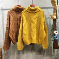 Women Chunky Cable Knitted Jumper Sweater Turtleneck Thicken Warm Pullover