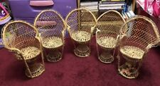 Handmade Rattan Doll Chairs Lot Of 5