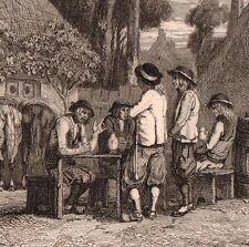 Gravure XIXe Cabaret Café Estaminet Bretagne 1840
