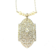 ANTIQUE VICTORIAN 10K WHITE GOLD DIAMOND SEED PEARL FILIGREE LAVALIERE NECKLACE