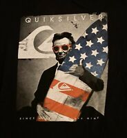 Quiksilver Mens Graphic T-Shirt XL Black Lincoln Surf American Flag Spell Out