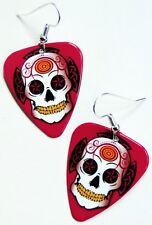 SUGAR SKULL GUITAR PICK EARRINGS! ROCKABILLY DAY OF THE DEAD CALAVERAS TATTOO