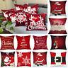 Merry Christmas Print Pillow Case Polyester Sofa Car Cushion Cover Home Decor US