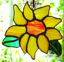 hand crafted SUNFLOWER Stained Glass SUNCATCHER yellow greens amber FLORAL GIFTS