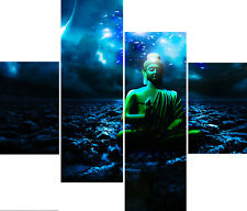 "20"" X 40""+ Long 4 Panel Wall Art Canvas Pictures Buddha Deep Blue Sea Prints"