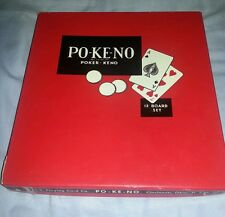VINTAGE PO-KE-NO POKER-KENO CARD GAME w/CHIPS AND 11 BOARDS