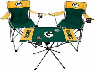 NFL Tailgate Kit 3-Piece Football Fan Gameday Team Color Chairs Table Folding