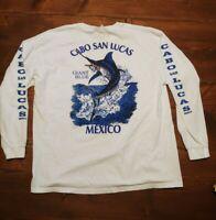 Cabo San Lucas Mexico Giant Blue Marlin Fishing Long Sleeve Shirt Men's XL
